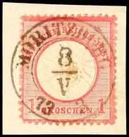 """2437 """"MORITZBURG 8.V.73"""" DKr. Auf D.R. 1 Gr. Auf Briefstück, Kabinett, Katalog: DR19 BS - Sachsen"""