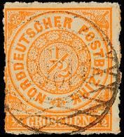 """2439 """"126"""" - Radeburg, Sauberer Abschlag Auf Leicht Mangelhafter 1/2 Gr. NDP Durchstochen, Fotobefund Mehlmann BPP, Kata - Sachsen"""