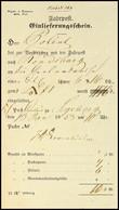 """2441 1853, Fahrpost-Einlieferungsschein Mit Vordruck """"Depart. D. Finanzen. Abth. Post"""" Für Ein Wertpaket Aus Segeberg Na - Schleswig-Holstein"""