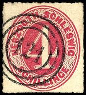 2442 4 Schilling Karminrot, Farbfrisches Und Tadellos Durchstochenes Kabinettstück Der Seltenen Marke, Klar Gestempelt M - Schleswig-Holstein