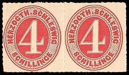 2443 4 S Karminrot, Waagerechtes, Ungebrauchtes Kabinett-Paar Mit Leichten Falzspuren, Schöne, Farbfrische Einheit! Mi 3 - Schleswig-Holstein
