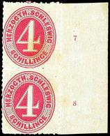 2444 4 S. Karminrot Im Senkrechten, Ungebrauchten Prachtpaar Mit Rechtem Rand Und RZ 7+8, Gepr. Engel, Katalog: 3(2)RZ * - Schleswig-Holstein