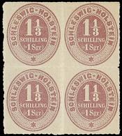 2445 1 1/3 S / 1 Sgr. Lebhaftviolettbraun, Ungebrauchter Pracht-Viererblock Mit Leichten Haftstellen, Hsl. Signatur, Mi. - Schleswig-Holstein