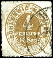 2447 4 Sch. Ockerbraun, Gebrauchtes Exemplar Mit Klarem, Wenn Auch Nicht Exakt Datierbarem Teilabschlag Des Zweikreisste - Schleswig-Holstein