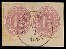 2449 1 1/4 S. Lebhaftbraunpurpur Durchstochen, Waagerechtes Paar Auf Pracht-Briefstück Mit K1 AHRENSBÖCK 12.3.1866, Etwa - Schleswig-Holstein