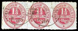 2450 1 1/3 S/1 Sgr. Lebhaftrotkarmin Im Gestempelten, Waagerechten 3er-Streifen, Waagerechter Bug Kaum Sichtbar, Dafür U - Schleswig-Holstein