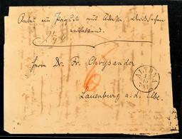 """2451 """"ALTONA 12/10 (1864)"""" - K1, Klar Auf Austaxiertem Sogen. Paketbegleitbrief-Viertelbogen Nach Lauenburg (rücks. Blau - Schleswig-Holstein"""