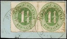 """2455 """"BORDESHOLM 27.3.67"""", 2x Etwas Undeutlich Auf Briefstück Mit Paar Der 1 1/4 S. Olivgrün Durchstochen, Etwas Patina, - Schleswig-Holstein"""