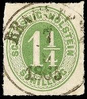 """2456 """"BRAMSTEDT 7.9.1865"""", K1 Klar Und Zentrisch Auf 1 1/4 S. Olivgrün Durchstochen, Pracht, Katalog: 9 O - Schleswig-Holstein"""