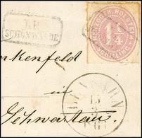 """2461 """"LP SCHÖNWALDE"""", 2x Zart Als Entwerter Und Nebenstempel Auf Briefstück Mit 1 1/4 S. Lebhaftbraunpurpur Durchstochen - Schleswig-Holstein"""