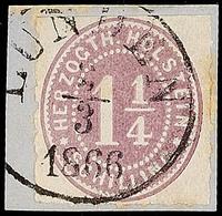 """2462 """"LUNDEN 2.3.1866"""", Klar Und Fast Komplett Auf Briefstück Mit 1 1/4 S. Lebhaftbraunpurpur Durchstochen, Minimal Flec - Schleswig-Holstein"""