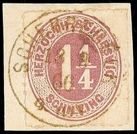 """2464 """"SCHERREBECK 18.9.66"""", Zarter Und Kompletter Abschlag Auf Briefstück Mit 1 1/4 S. Rosalila Durchstochen, Oben Mit B - Schleswig-Holstein"""