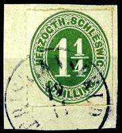 """2468 """"CHRISTIANFELD 19.11""""., K1 Nicht Ganz Komplett Auf Kabinett-Briefstück Mit 1 1/4 S Grün, Katalog: 4 BS - Schleswig-Holstein"""