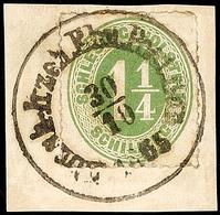 """2469 """"Elmsh.-Itzeh. Ebn.-Post-Bur. 30.10.1865"""", Klar Und Komplett Auf Pracht-Briefstück Mit 1 1/4 S. Olivgrün Durchstoch - Schleswig-Holstein"""