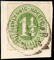 """2470 """"HOLST. EB.P.SB.P. 3 ZUG4.7."""", Klar Und Komplett Auf Briefstück Mit 1 1/4 S. Olivgrün Durchstochen, Pracht, Katalog - Schleswig-Holstein"""