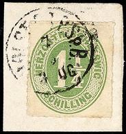 """2473 """"HOLST. EB.P.SP.B. 3 ZUG 7.3."""", Recht Klar Und Komplett Auf Kabinett-Briefstück Mit 1 1/4 S. Olivgrün, Katalog: 4 B - Schleswig-Holstein"""