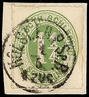 """2474 """"HOLST. EB.P.SP.B: 1 ZUG 4.5."""", Klar Und Komplett Auf Pracht-Briefstück Mit 1 1/4 S. Olivgrün, Katalog: 4 BS - Schleswig-Holstein"""