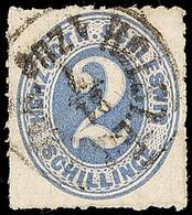 """2475 """"HOLST.EB.P.SP.B. 1 ZUG 21.7."""", Recht Klar Und Fast Komplett Auf  2 S. Grauultramarin Durchstochen, Pracht, Katalog - Schleswig-Holstein"""