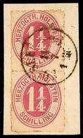 """2476 """"HOLST.EB.P.SP.B. 1 ZUG 14.7."""", Schwarzer K1 Klar Und Komplett Auf Pracht-Briefstück Mit Senkrechtem Paar Der 1 1/4 - Schleswig-Holstein"""