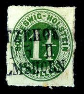 """2477 """"ITZEHOHE 1/5 II ELMSHORN"""", Schwarzer L3 Nicht Ganz Komplett Auf Loser 1 1/4 S Olivgrün, Pracht, Katalog: 9 O - Schleswig-Holstein"""