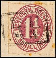 """2479 """"L.P. No. 3"""", Ra2 Komplett Und Recht Klar Auf Briefstück Mit 1 1/4 S. Bräunlichlila Durchstochen, Etwas Stockig - S - Schleswig-Holstein"""