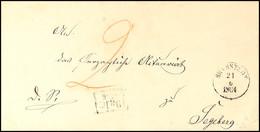 """2480 """"L.P. No. 4"""", Ra2 Etwas Undeutlich Auf Pracht-Briefhülle Mit K1 BRAMSTEDT 21.6.1864  Und Taxe Nach Segeberg  BF - Schleswig-Holstein"""