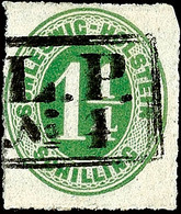 """2482 """"L.P. No.4"""", Ra2 Glasklar Und Fast Komplett Auf 1 1/4 S. Olivgrün Durchstochen, Oben Rechts Eckrund, Sonst Einwandf - Schleswig-Holstein"""