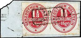 """2483 """"LP SCHÖNWALDE"""", Ra2 Klar Und Komplett Auf Pracht-Briefstück Mit Waagerechtem Paar Der 1 1/3 S./ 1 Sgr. Lebhafrotka - Schleswig-Holstein"""