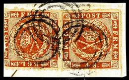 2485 Dreiringstempel Ohne Nummer (KETUM), 3x Klar Auf Briefstück Mit 2x 4 S. Durchstochen (linke Marke Abgeschnitten), B - Schleswig-Holstein