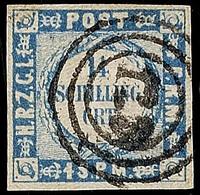 """2493 """"123"""" - Mehldorf, Recht Klar Und Fast Zentrisch Auf Vollrandiger 1 1/4 S. Dunkelgrauultramarin Mit Eng Gewelltem Gr - Schleswig-Holstein"""