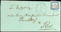 """2498 """"130"""" Nebst K1 """"PLÖN 29.2.1865"""" Auf Faltbrief 1 1/4 S. Nach Kiel (Ankstpl), Marke Meist Scherentrennung, Katalog: 7 - Schleswig-Holstein"""
