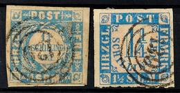"""2500 """"139"""" - BRAMSTEDT, Je Klar Auf Mini-Briefstück Mit Allseits Voll/breitrandiger MiNr. 6 Und Auf Loser MiNr. 7 (teils - Schleswig-Holstein"""