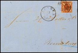 """2504 """"143"""" - Lunden, Recht Klar Auf Komplettem Faltbrief Mit Dänemark 4 S. Braun Und EKr. LUNDEN 27.9.1863 Nach Rendsbur - Schleswig-Holstein"""
