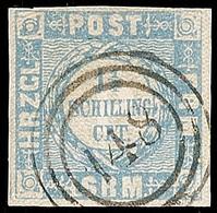 """2505 """"148"""" - Lauenburg, Sehr Klar Und Fast Zentrisch Auf Voll- Bis Breitrandiger 1 1/4 S. Dunkelgrauultramarin, Pracht,  - Schleswig-Holstein"""