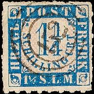 """2509 """"152"""" - Schwarzenbeck, Klar Und Fast Zentrisch Auf 1 1/4 S. Grauultramarin/weißrosa Durchstochen (Eckbug), Optisch  - Schleswig-Holstein"""