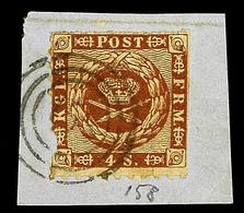 "2513 ""158"" - LENSAHN, Klar A. Kleinem Briefstück Mit 4 S. Rötlichbraun (Marke Mgl.), Katalog: Dän.9 O - Schleswig-Holstein"