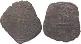 Rhône Alpes Rhône Lyon Quart De Gros (demi Guénar) Au Nom De Charles VI 1420-1421 Lis Sur Annelet Initial à L'avers - 1380-1422 Charles VI Le Fol