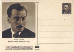 C2717-Czechoslovakia/Brazil-PS Card Honoring Brazilian Writer Jorge Amado-Unused-1949 - Cartes Postales