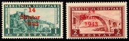 """7028 1 Fr. Schwarzgrün Und 2 Fr. Braunkarmin, Je Aufdruckfehler VI """"kurze 1"""", Tadellos Postfrisch, Beide Doppelt Sign. K - Albania"""