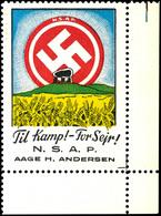 """7058 1944, """"N.S.A.P. - Til Kamp!- For Seir!"""", Farbige Vignette Aus Der Rechten Unteren Bogenecke, Postfrisch, Tadellos   - Denmark"""
