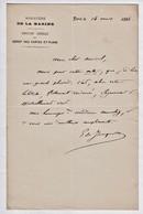 """Une Lettre De 1884 De """"E De Tocqueville, Ministère De La Marine, Dépôt De Cartes Et Plans, Paris"""".   Ref 0536 - Autographs"""
