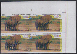 CUBA 2017 Walking Elephants 85P IMPERF.4-BLOCK ERROR:messy Print - Elefanten