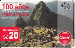 PERU - Machu Picchu, Claro Prepaid Card S/.20, Exp.date 04/08/15, Used - Peru
