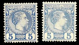 10628 5 C. In Blau Und Dunkelblau, Ungebr., Katalog: 3 * - Monaco