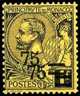 10634 75 Auf 1 Fr. Freimarke Mit Doppeltem Aufdruck, Postfrisches Kabinettstück, Signiert Und Fotoattest Renon (Yvert 71 - Monaco