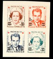 10636 1 Bis 6 Fr. Rotes Kreuz 1951, Ungezähnt, Tadellos Postfrischer Viererblock, Mi. 60.-, Katalog: 451/54B ** - Monaco