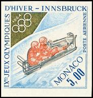 10638 5 Fr. Flugpostmarke Winter-Olympiade 1964 Innsbruck, Zweierbob, UNGEZÄHNT Statt Gezähnt, Tadellos Postfrisch Mit S - Monaco