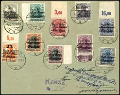 10679 5 Pfg. - 25 Pfg. Auf 7 1/2 Pfg. Aufdruckausgabe, 10 Werte Mit Stempel KALISZ 4.3.19 Auf R-Brief Nach Posen Mit Zen - Poland