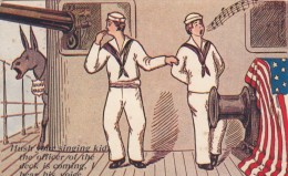 US Sailors Navy In Cuba, Navy Humor, Donkey Braying Sounds Like Officer, C1900s Vintage Postcard - Humour