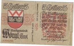 Austria 10 Heller 31-12-1920, Worgl (Tirol) 1252d UNC - Austria
